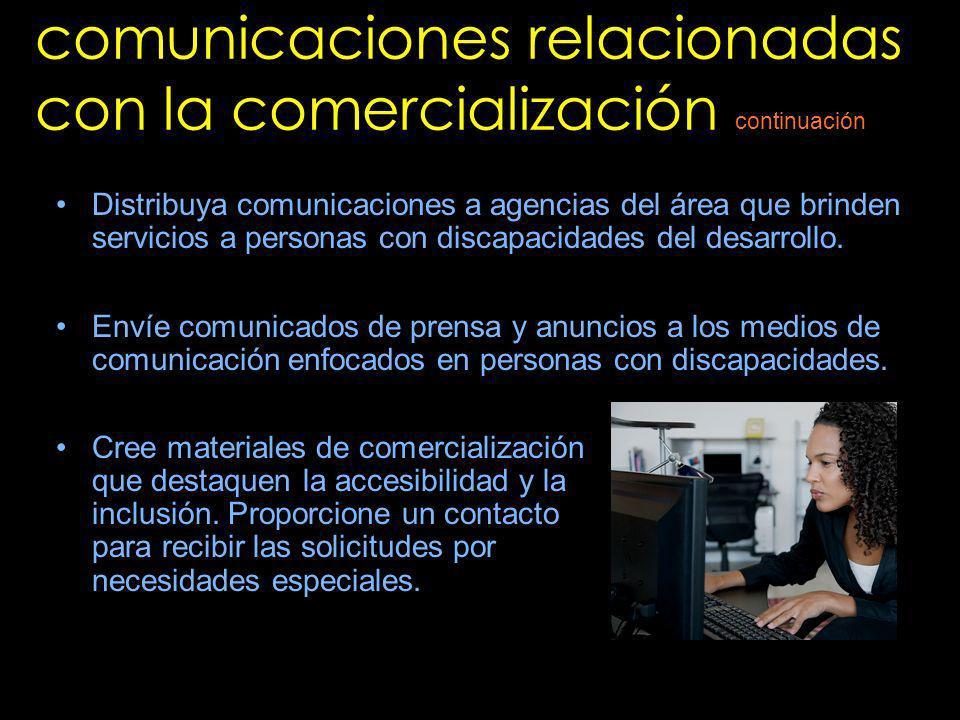 comunicaciones relacionadas con la comercialización
