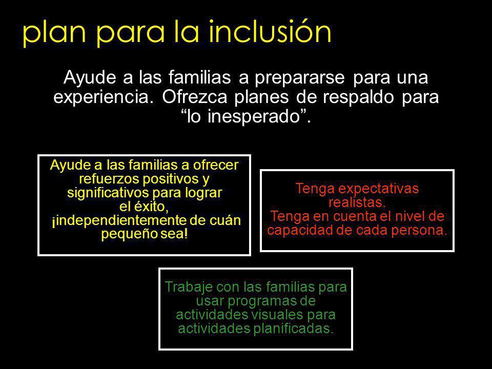 plan para la inclusión Ayude a las familias a prepararse para una experiencia. Ofrezca planes de respaldo para lo inesperado .