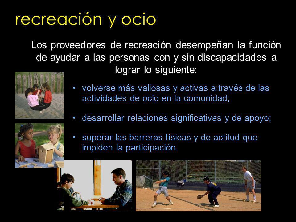 recreación y ocio Los proveedores de recreación desempeñan la función de ayudar a las personas con y sin discapacidades a lograr lo siguiente: