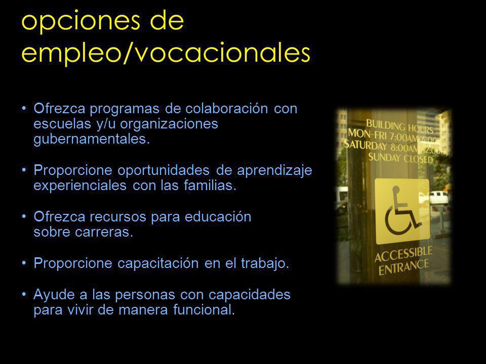 opciones de empleo/vocacionales