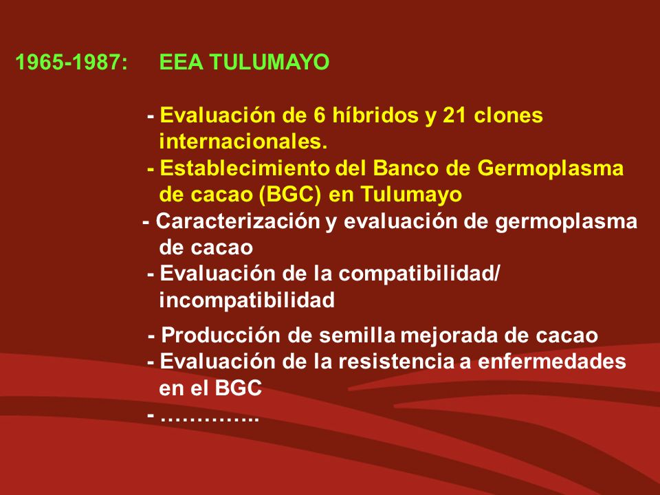 1965-1987: EEA TULUMAYO - Evaluación de 6 híbridos y 21 clones internacionales.