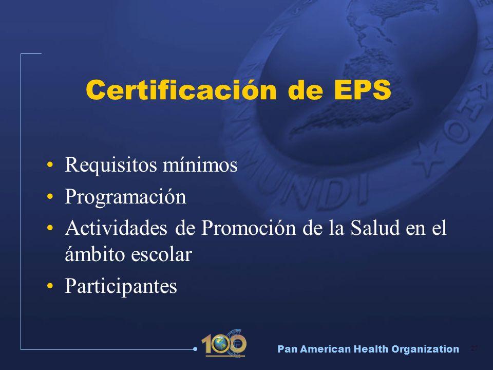 Certificación de EPS Requisitos mínimos Programación