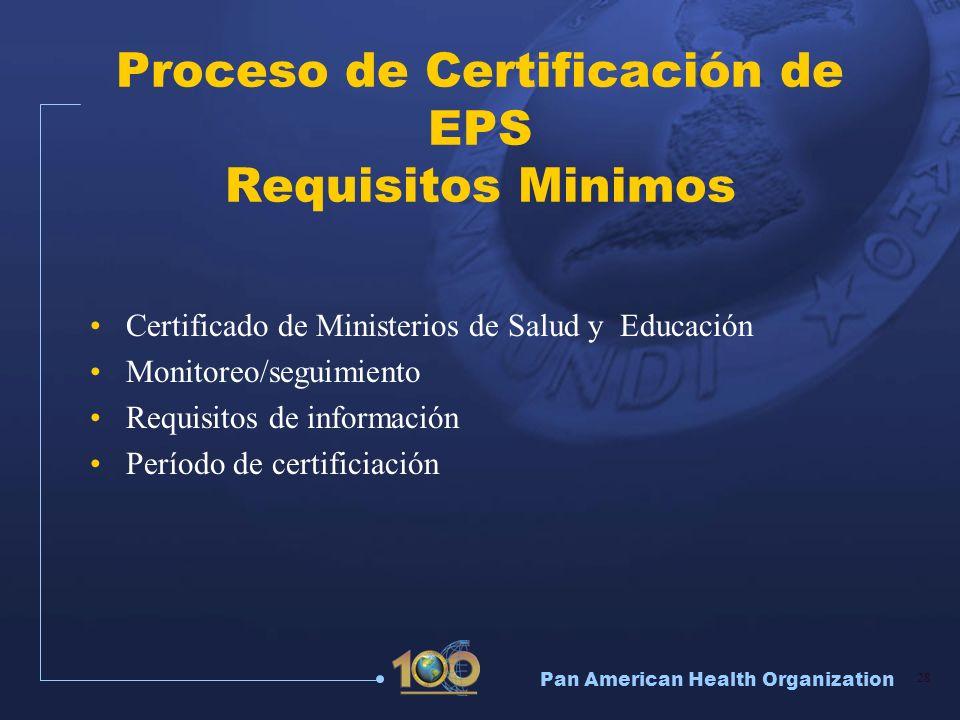 Proceso de Certificación de EPS Requisitos Minimos