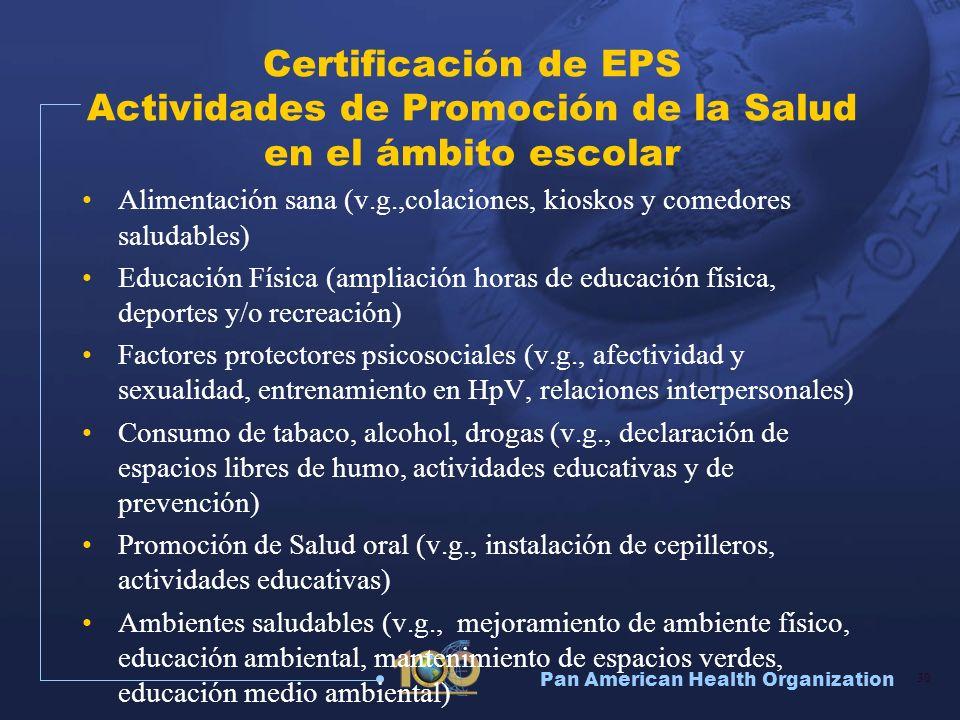 Certificación de EPS Actividades de Promoción de la Salud en el ámbito escolar