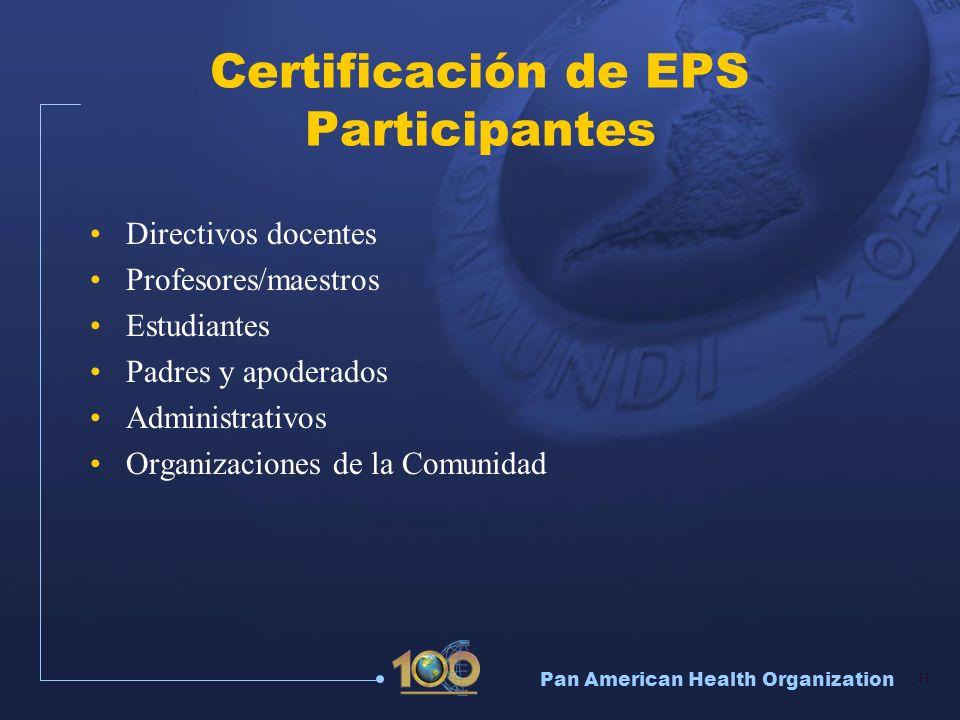 Certificación de EPS Participantes