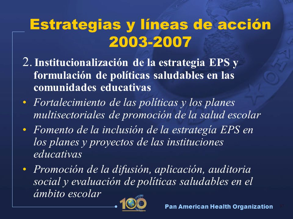 Estrategias y líneas de acción 2003-2007