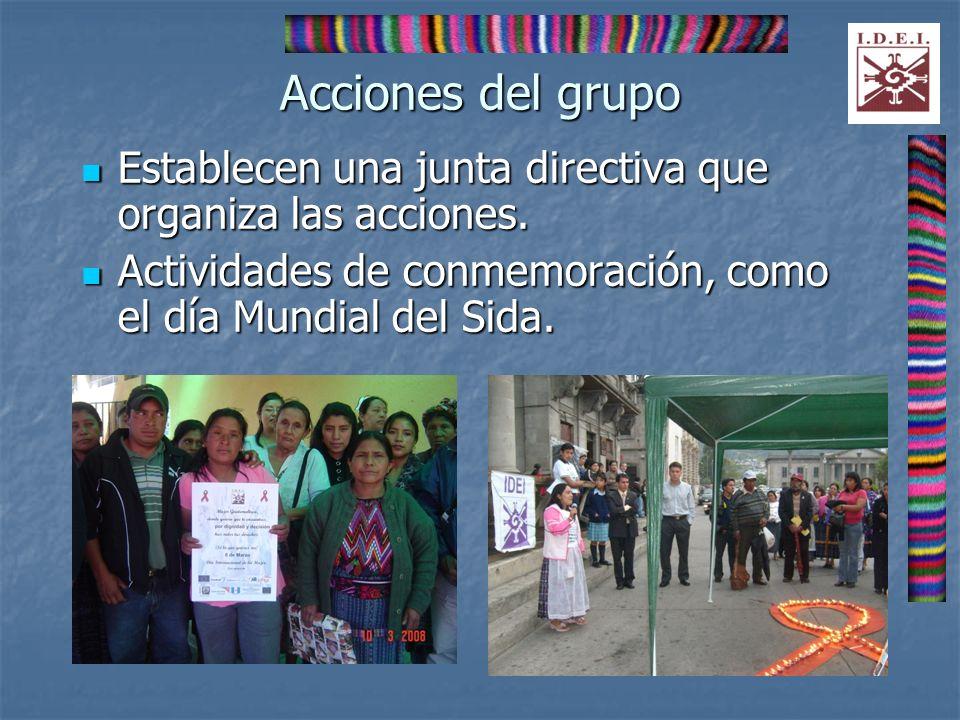 Acciones del grupo Establecen una junta directiva que organiza las acciones.