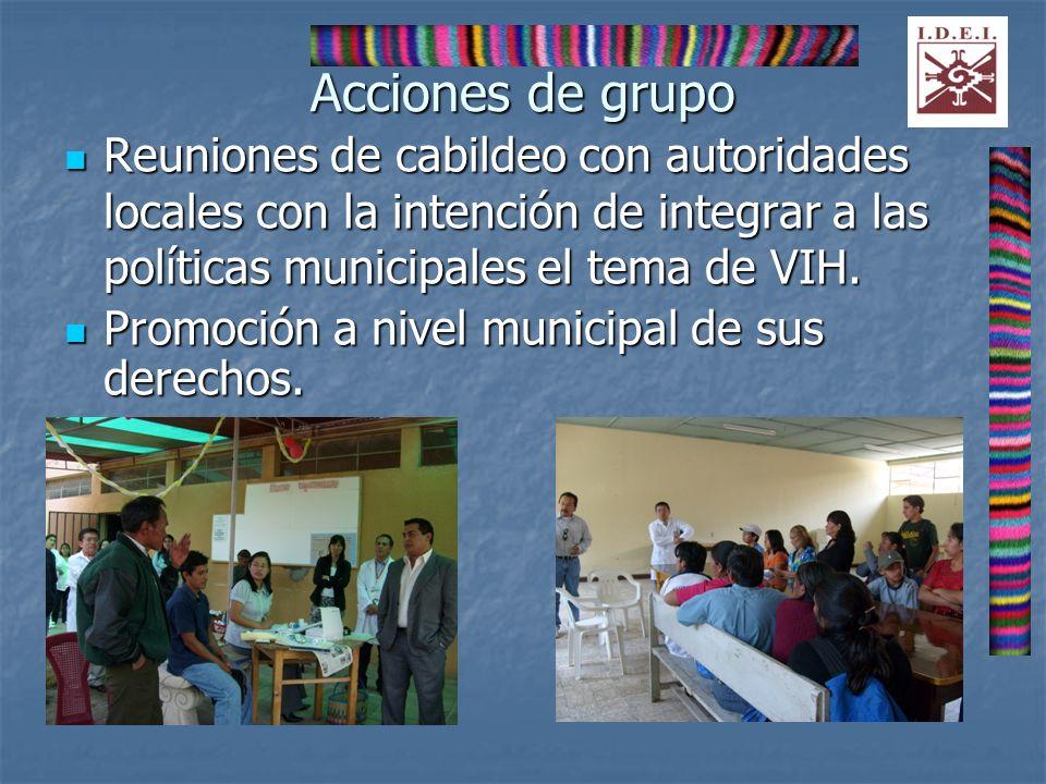 Acciones de grupo Reuniones de cabildeo con autoridades locales con la intención de integrar a las políticas municipales el tema de VIH.