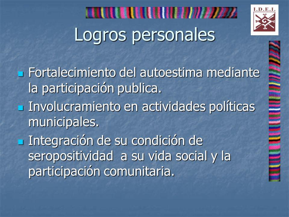Logros personales Fortalecimiento del autoestima mediante la participación publica. Involucramiento en actividades políticas municipales.