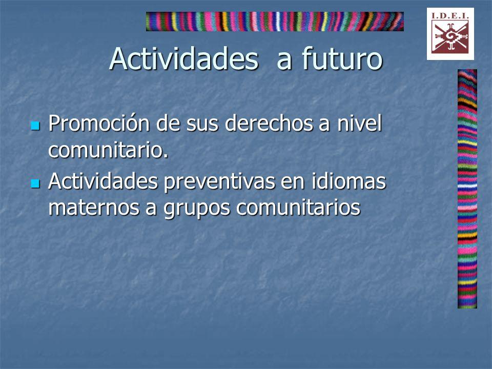 Actividades a futuro Promoción de sus derechos a nivel comunitario.