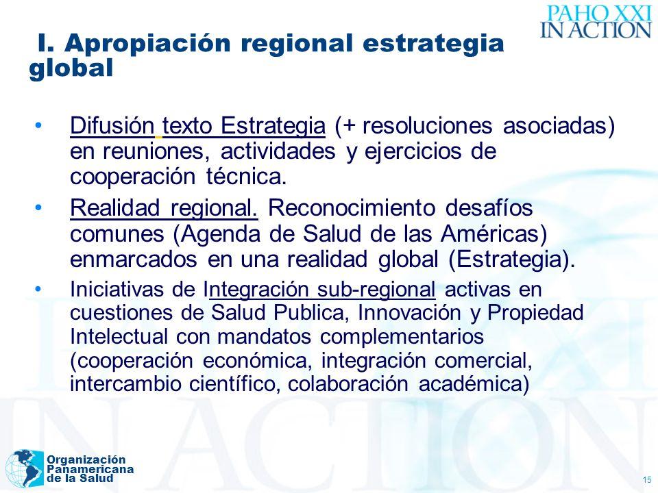 I. Apropiación regional estrategia global