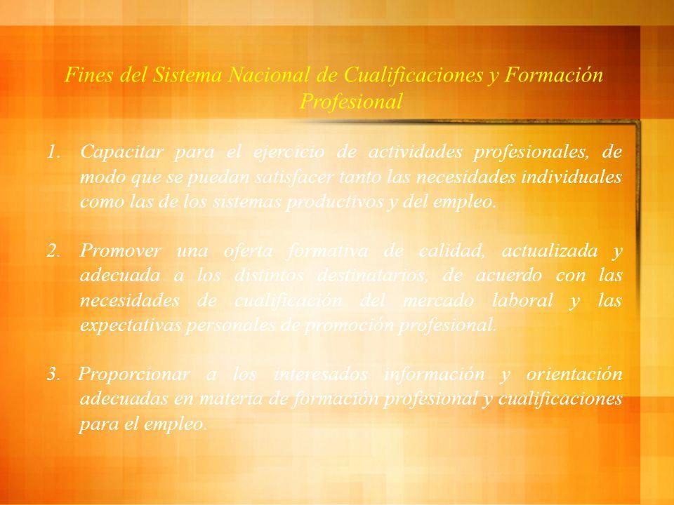 Fines del Sistema Nacional de Cualificaciones y Formación Profesional