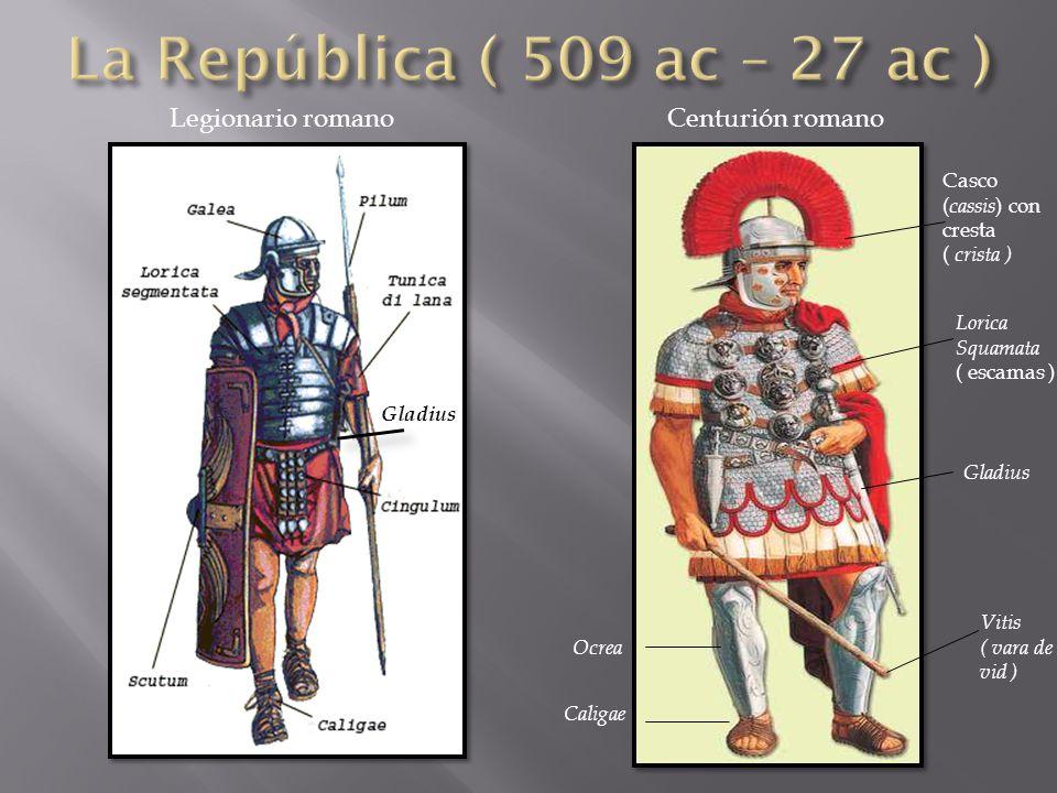 La República ( 509 ac – 27 ac ) Legionario romano Centurión romano