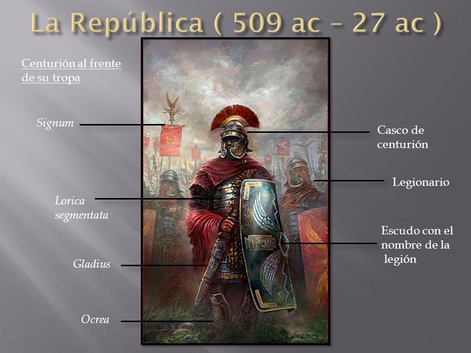 La República ( 509 ac – 27 ac ) Centurión al frente de su tropa Signum
