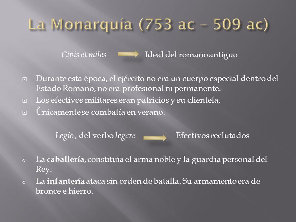 La Monarquía (753 ac – 509 ac) Civis et miles Ideal del romano antiguo