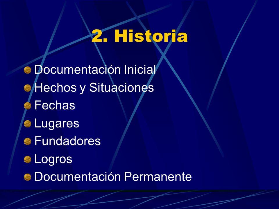 2. Historia Documentación Inicial Hechos y Situaciones Fechas Lugares