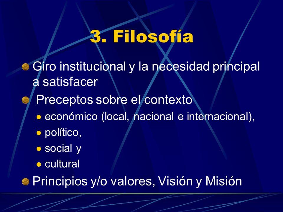 3. Filosofía Giro institucional y la necesidad principal a satisfacer