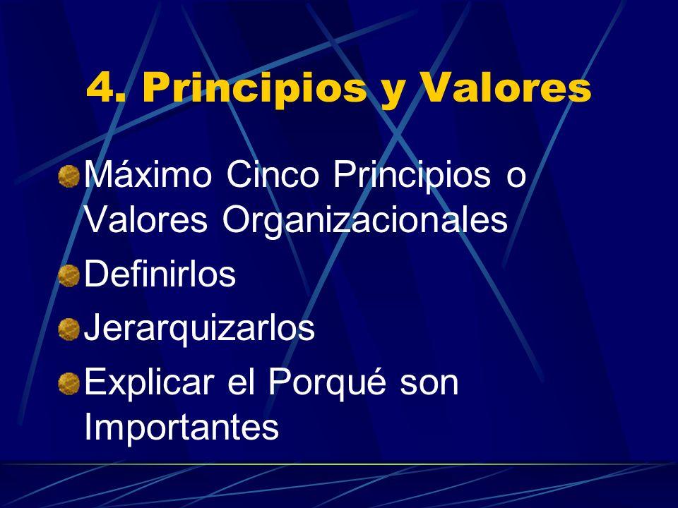 4. Principios y Valores Máximo Cinco Principios o Valores Organizacionales. Definirlos. Jerarquizarlos.