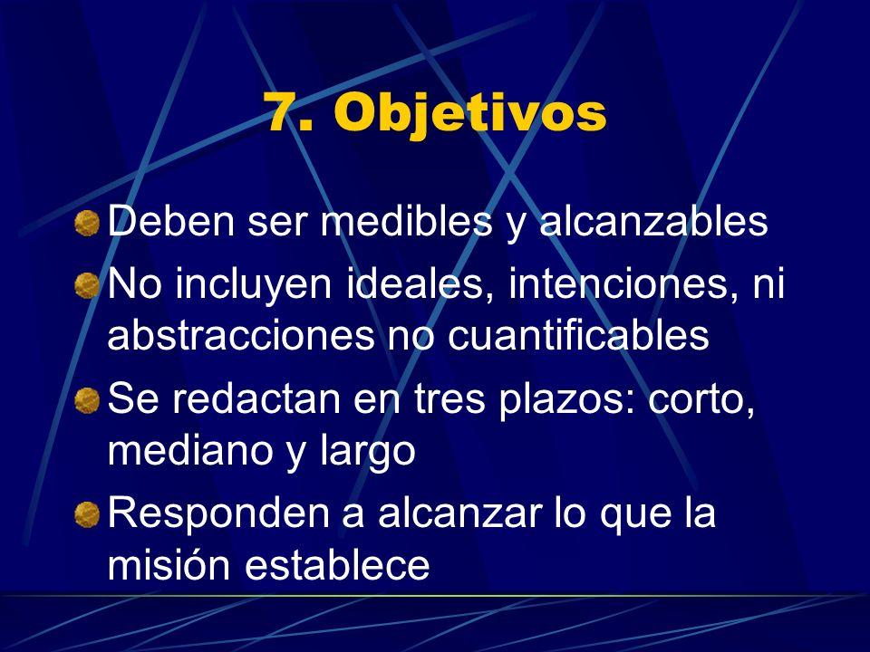 7. Objetivos Deben ser medibles y alcanzables