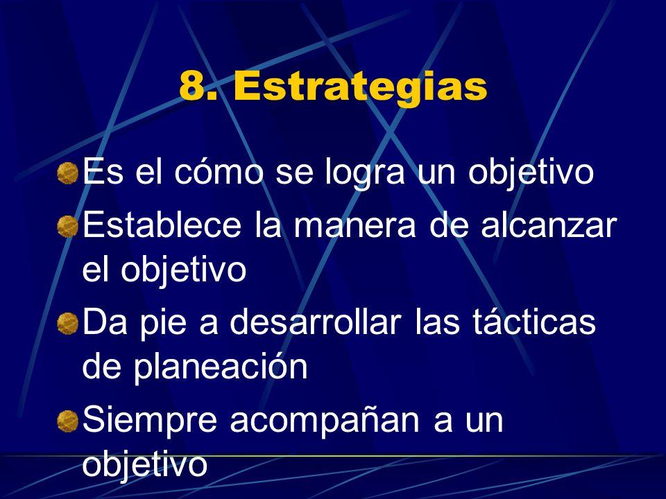 8. Estrategias Es el cómo se logra un objetivo
