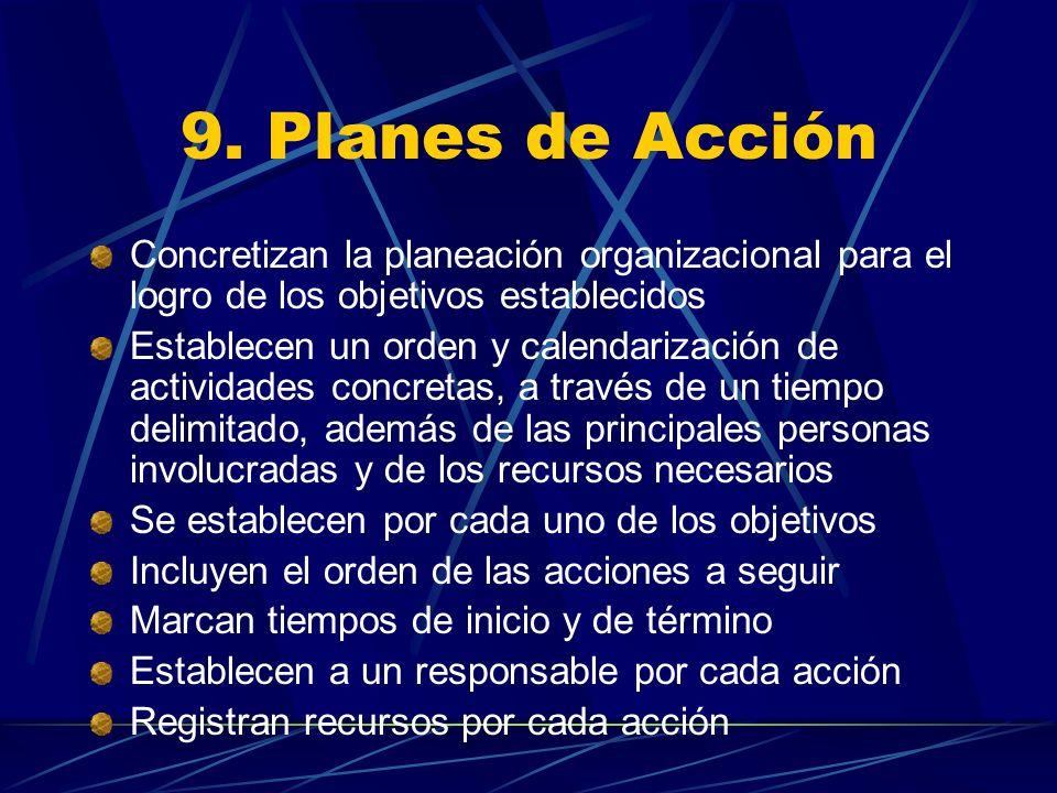 9. Planes de Acción Concretizan la planeación organizacional para el logro de los objetivos establecidos.