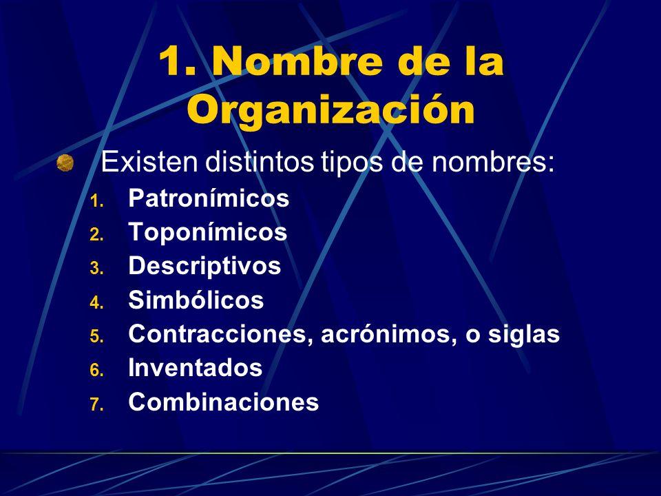 1. Nombre de la Organización