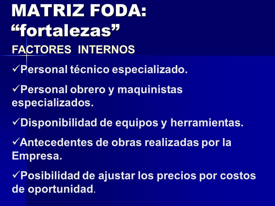 MATRIZ FODA: fortalezas