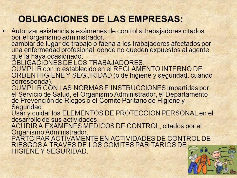 OBLIGACIONES DE LAS EMPRESAS: