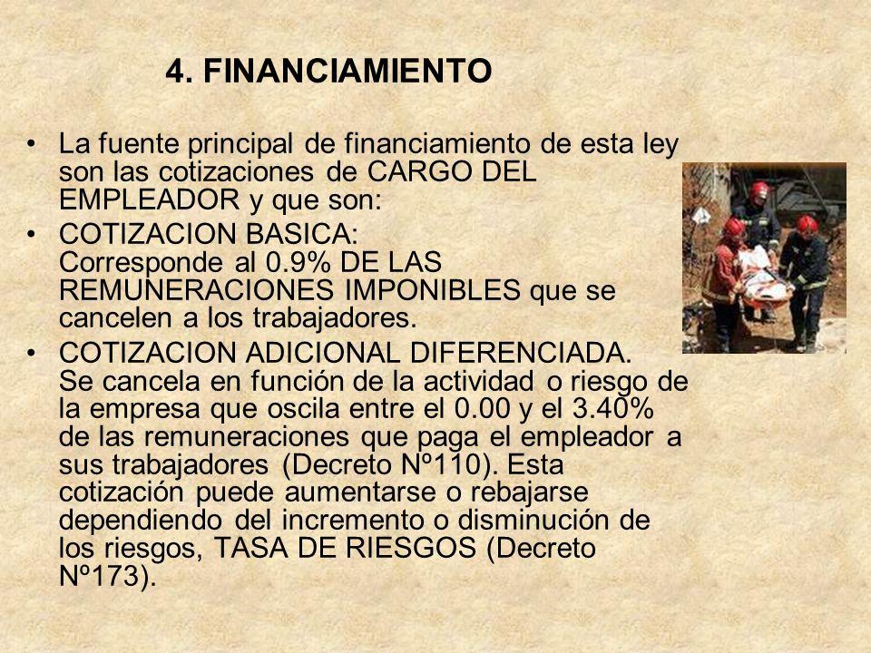 4. FINANCIAMIENTOLa fuente principal de financiamiento de esta ley son las cotizaciones de CARGO DEL EMPLEADOR y que son: