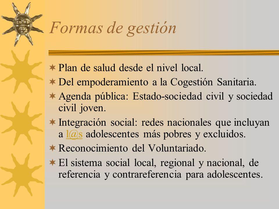 Formas de gestión Plan de salud desde el nivel local.