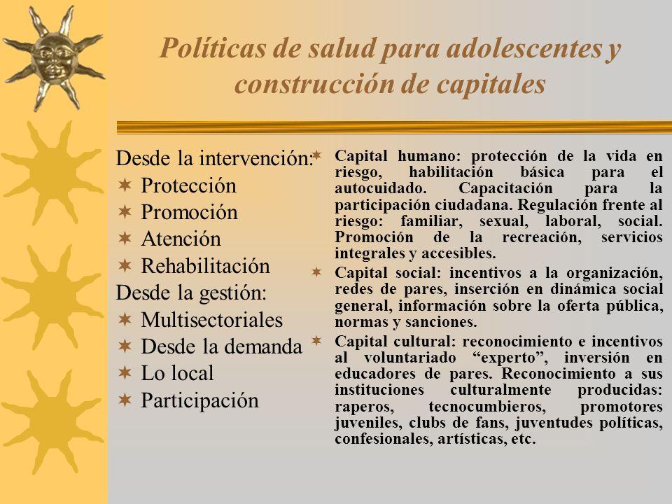 Políticas de salud para adolescentes y construcción de capitales