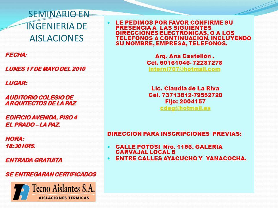SEMINARIO EN INGENIERIA DE AISLACIONES