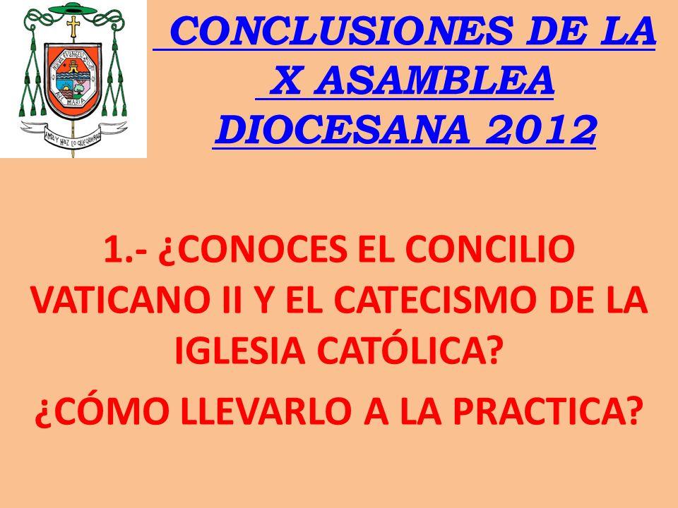 CONCLUSIONES DE LA X ASAMBLEA DIOCESANA 2012