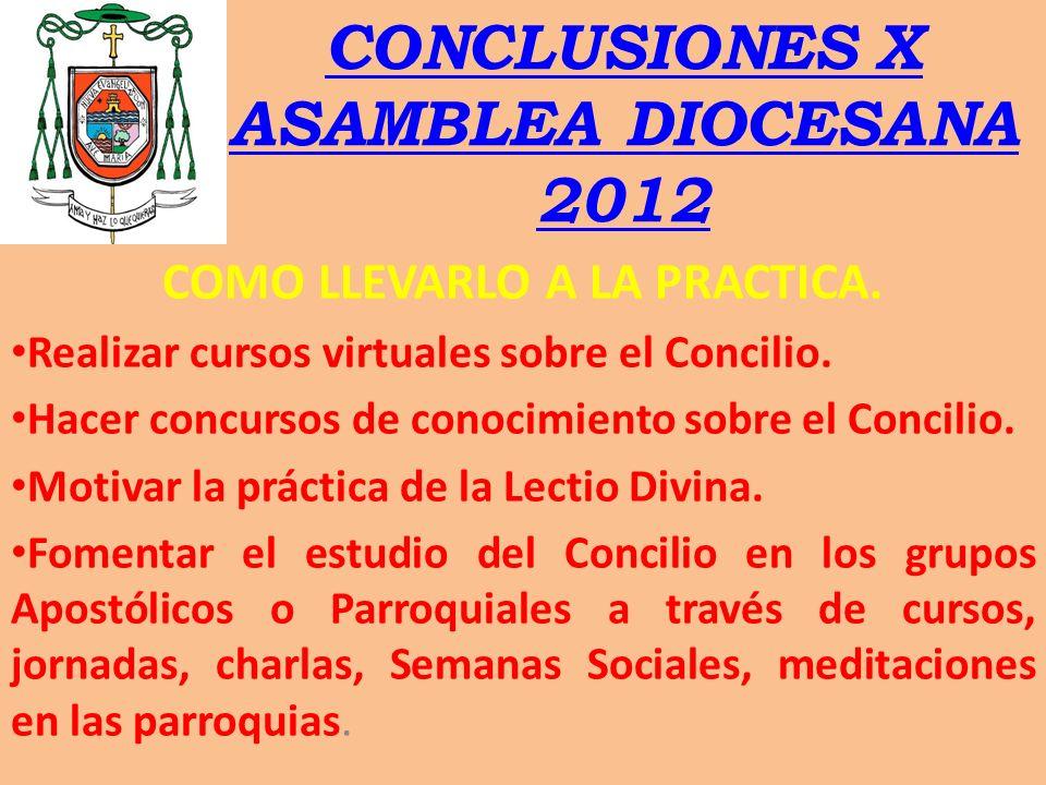 CONCLUSIONES X ASAMBLEA DIOCESANA 2012
