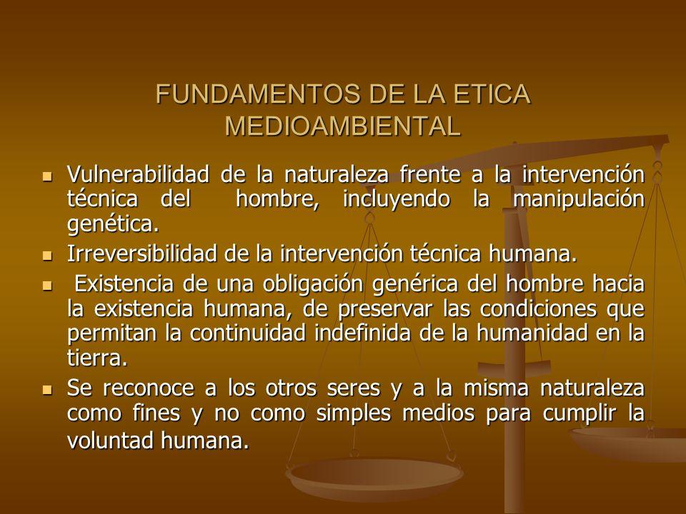 FUNDAMENTOS DE LA ETICA MEDIOAMBIENTAL