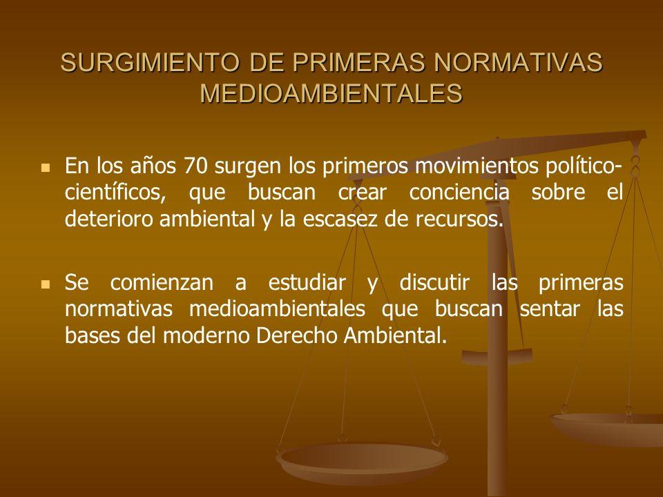 SURGIMIENTO DE PRIMERAS NORMATIVAS MEDIOAMBIENTALES