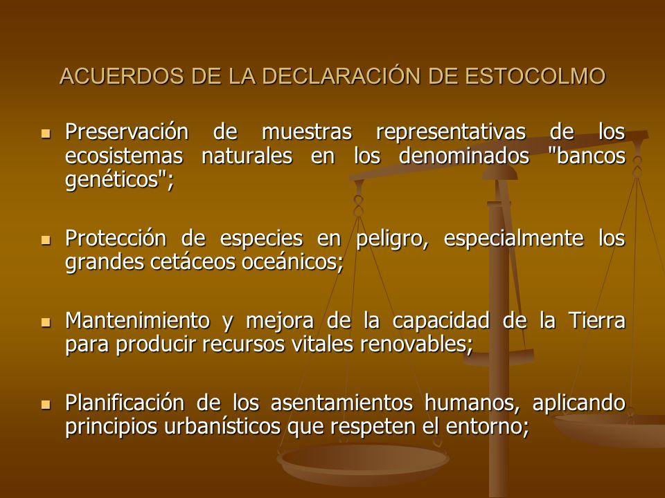 ACUERDOS DE LA DECLARACIÓN DE ESTOCOLMO