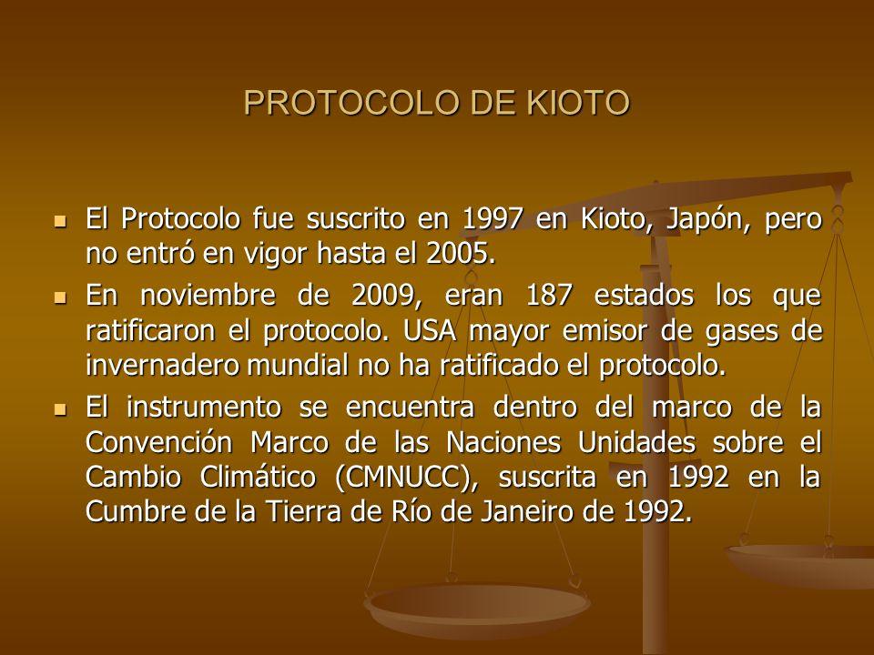 PROTOCOLO DE KIOTOEl Protocolo fue suscrito en 1997 en Kioto, Japón, pero no entró en vigor hasta el 2005.