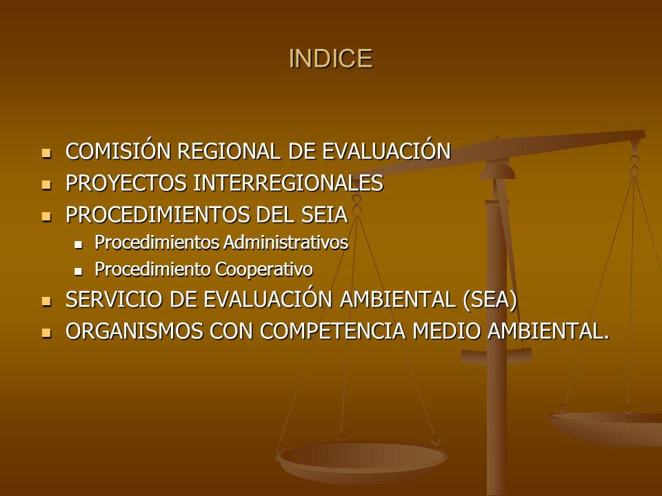 INDICE COMISIÓN REGIONAL DE EVALUACIÓN PROYECTOS INTERREGIONALES