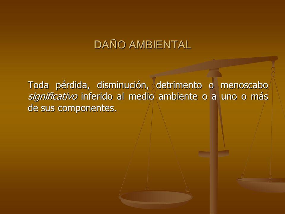 DAÑO AMBIENTAL Toda pérdida, disminución, detrimento o menoscabo significativo inferido al medio ambiente o a uno o más de sus componentes.