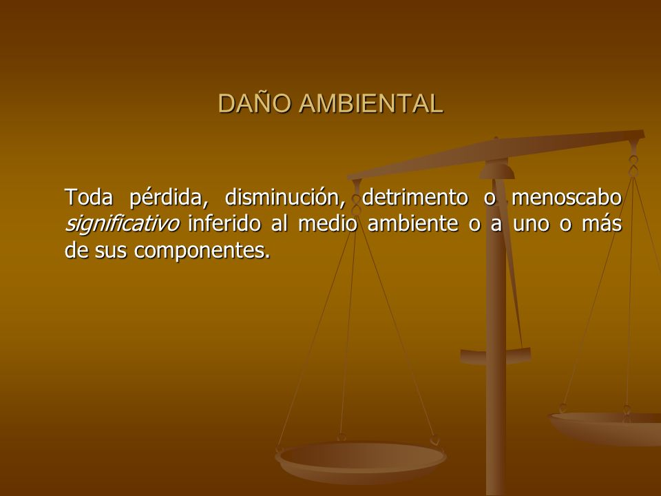 DAÑO AMBIENTALToda pérdida, disminución, detrimento o menoscabo significativo inferido al medio ambiente o a uno o más de sus componentes.