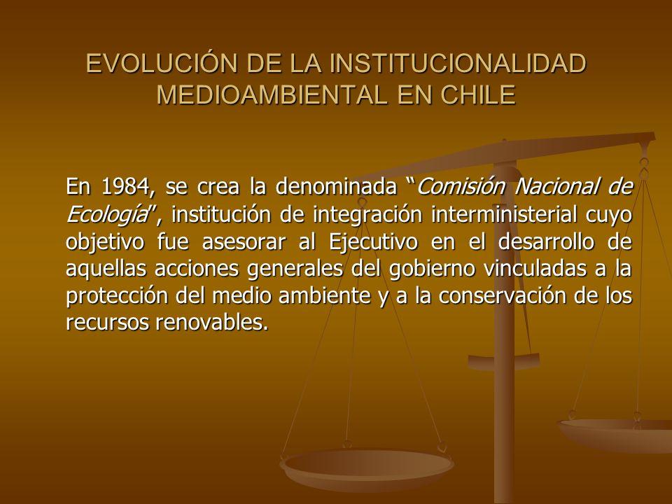 EVOLUCIÓN DE LA INSTITUCIONALIDAD MEDIOAMBIENTAL EN CHILE