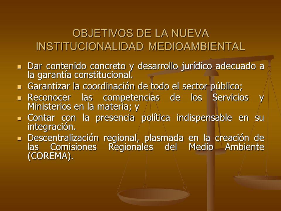 OBJETIVOS DE LA NUEVA INSTITUCIONALIDAD MEDIOAMBIENTAL