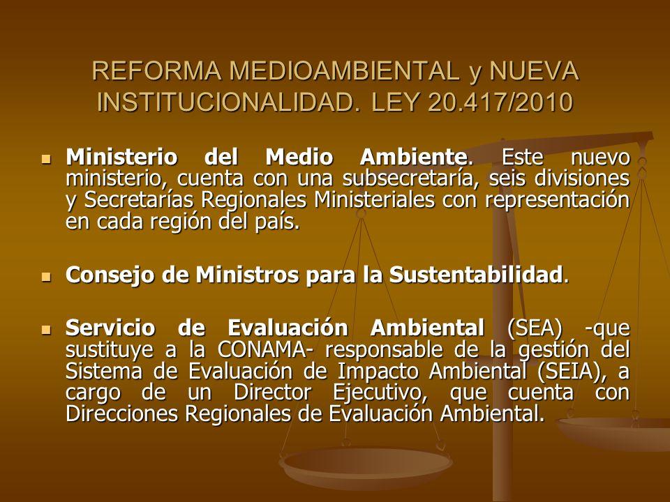 REFORMA MEDIOAMBIENTAL y NUEVA INSTITUCIONALIDAD. LEY 20.417/2010