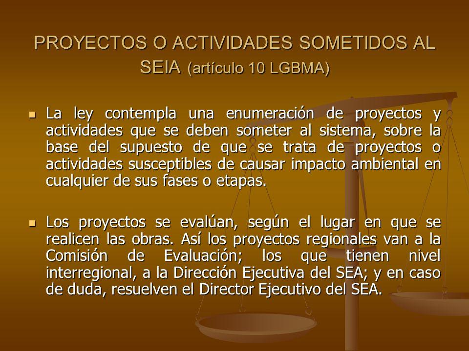 PROYECTOS O ACTIVIDADES SOMETIDOS AL SEIA (artículo 10 LGBMA)