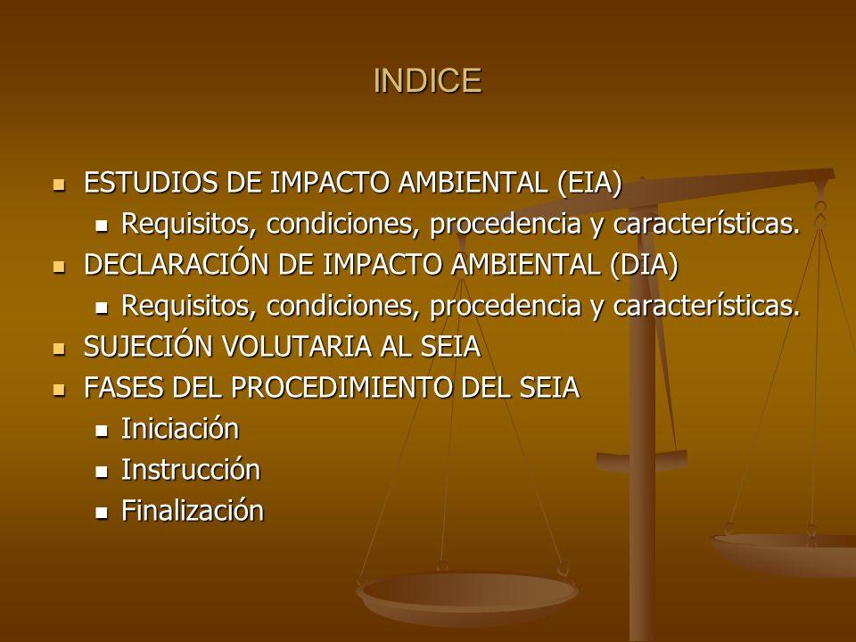 INDICE ESTUDIOS DE IMPACTO AMBIENTAL (EIA)