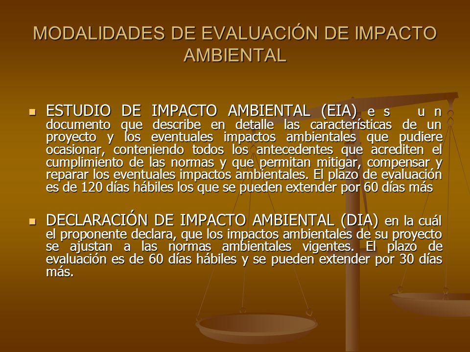 MODALIDADES DE EVALUACIÓN DE IMPACTO AMBIENTAL