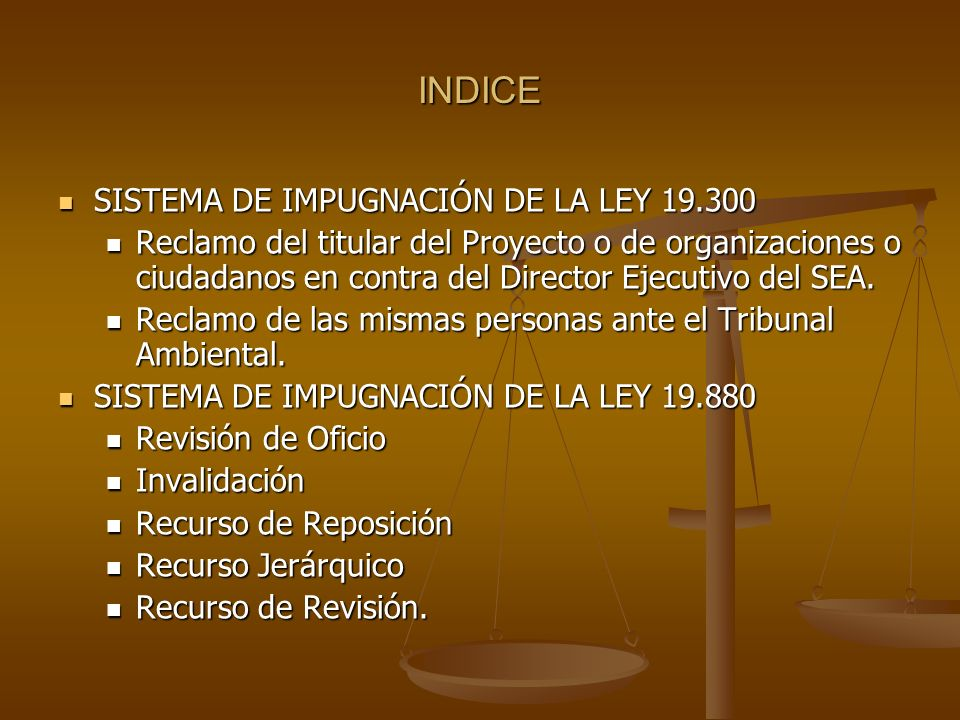 INDICE SISTEMA DE IMPUGNACIÓN DE LA LEY 19.300
