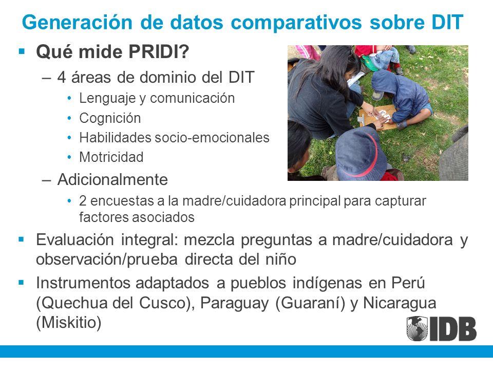 Generación de datos comparativos sobre DIT