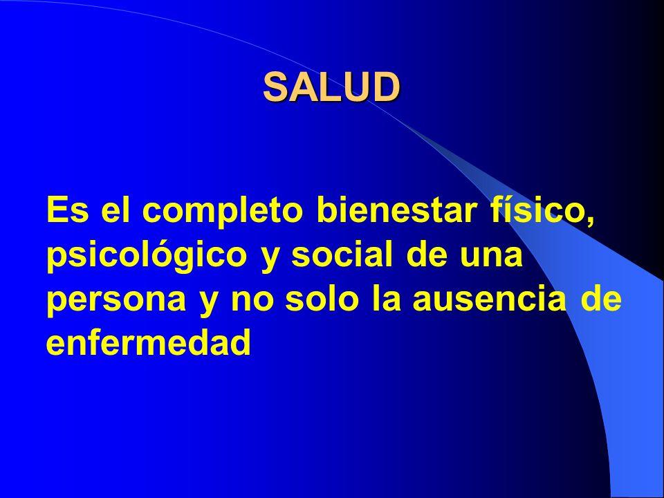 SALUD Es el completo bienestar físico, psicológico y social de una persona y no solo la ausencia de enfermedad.
